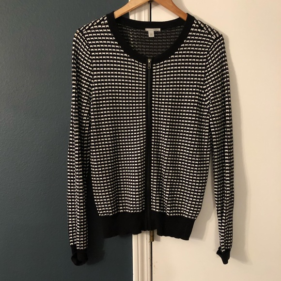Halogen Tops Black And White Checkered Sweater Poshmark